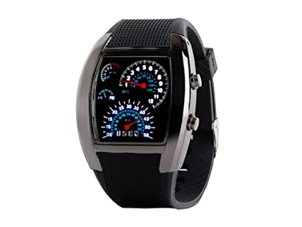 Ocaler® Cool RPM turbo azul Flash LED reloj de pulsera deportes medidor Dial reloj