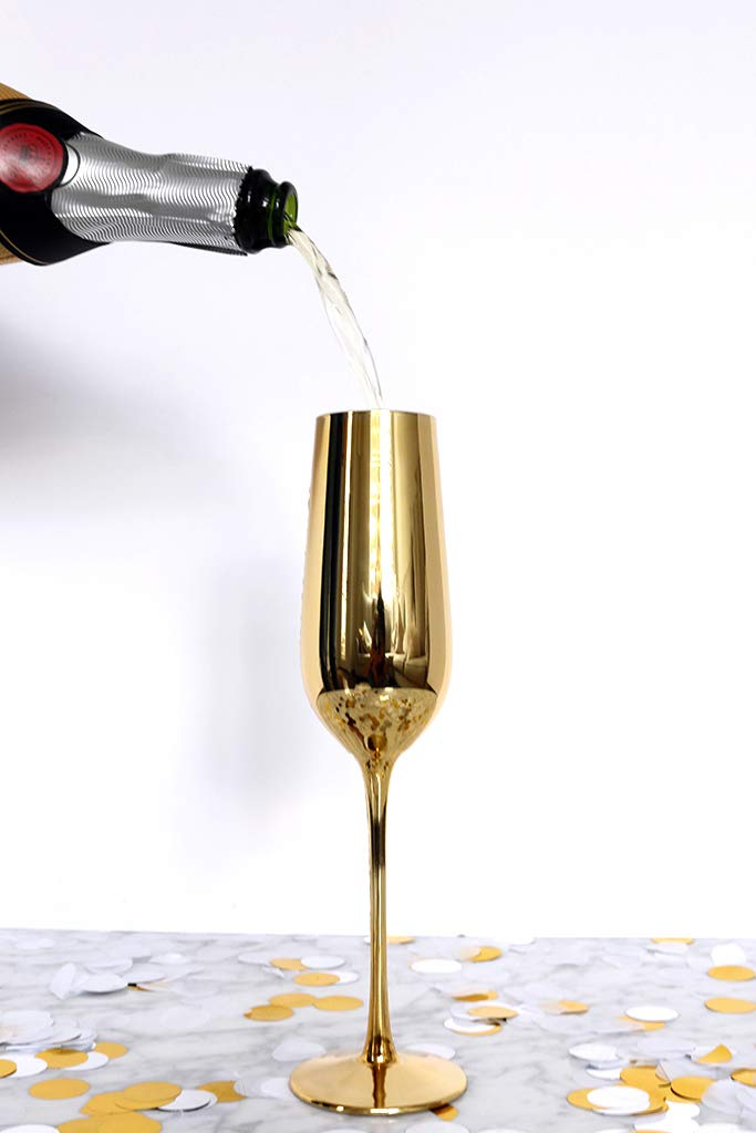 Gold Champagne Flutes (6 glasses/flutes) by Luxe Glassware, for Parties, Weddings, Anniversaries, Special Occasions, Birthdays and Decoration