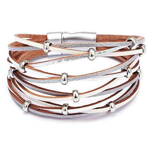 Dohuge Multi-Layer Leather Bracelet with Alloy Magnetic Clasp Handmade Braided Wrap Cuff Bangle for Women Teen Girls Gift, Silver and White