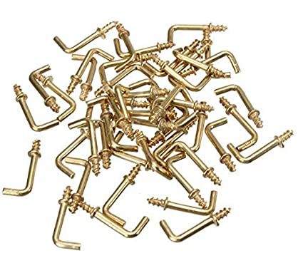 Screws Color : Like Picture Shown Color : Like Picture Shown Easy 100pcs 1//2L Shaped Screw Dresser Cup Hooks Hanging Hangers Hooks Brass Plated for DIY Home Furniture Fixing Fastener Tool