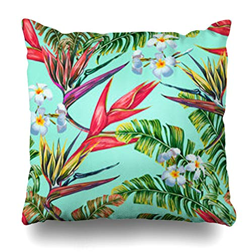 Hitime Throw Pillow Cover Brazilian Tropical Floral Pattern Exotic Flowers Jungle Leaves Banana Leaf Brazil Bird Paradise Plumeria Decorative Pillowcase Square Size 16 x 16 Inches Home Cushion ()