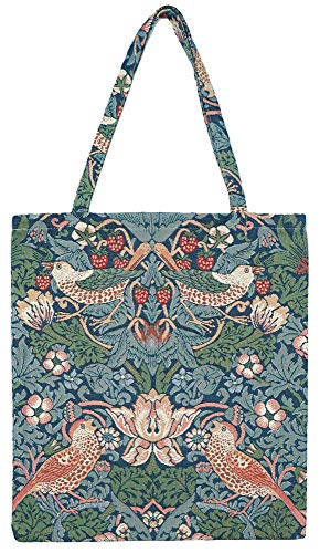Signare Tapestry Reusable Grocery Eco Friendly Shopping Tote Bag in William Morris Design (Strawberry Thief Blue)
