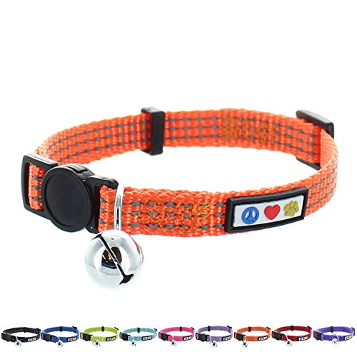 Pawtitas Reflective Cat Collar with Safety Buckle and Removable Bell Cat Collar Kitten Collar Orange Cat Collar (Collar Safety Cat Orange)