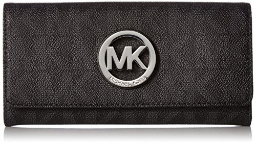 Michael Kors Fulton Flap Signature MK PVC Clutch Wallet Black by Michael Kors