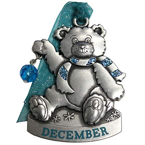 Gloria Duchin Birthstone Bear - December Christmas Ornament, Silver and Red