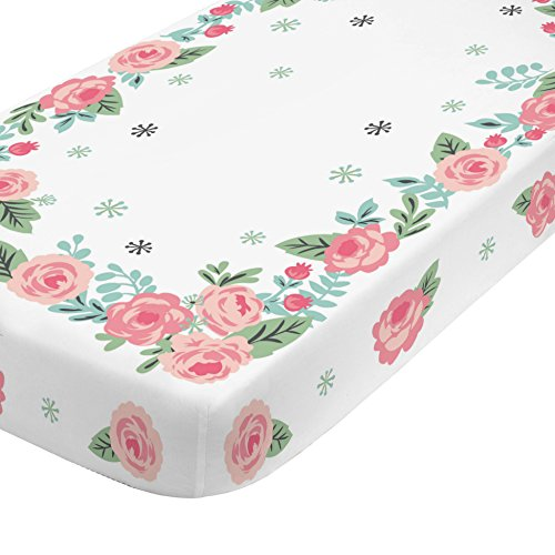 (NoJo Aztec Mix & Match 100% Cotton Roses Photo Op Crib Sheet, Pink, Green, Aqua,)