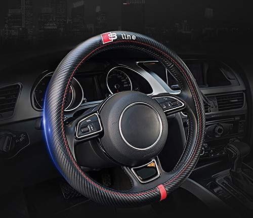 Kune Sline Sport Carbon Fiber Style Leather Steering Wheel Cover for Audi 15'' Diameter Universal ()