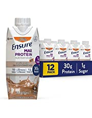 Ensure Max Protein Nutritional Shake with 30g of Protein, 1g of Sugar, High Protein Shake, Cafe Mocha, 11 Fl Oz, 12 Count