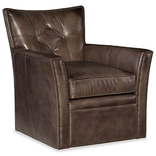 Hooker Furniture Conner Leather Swivel Club Chair in Checkmate Trade ()