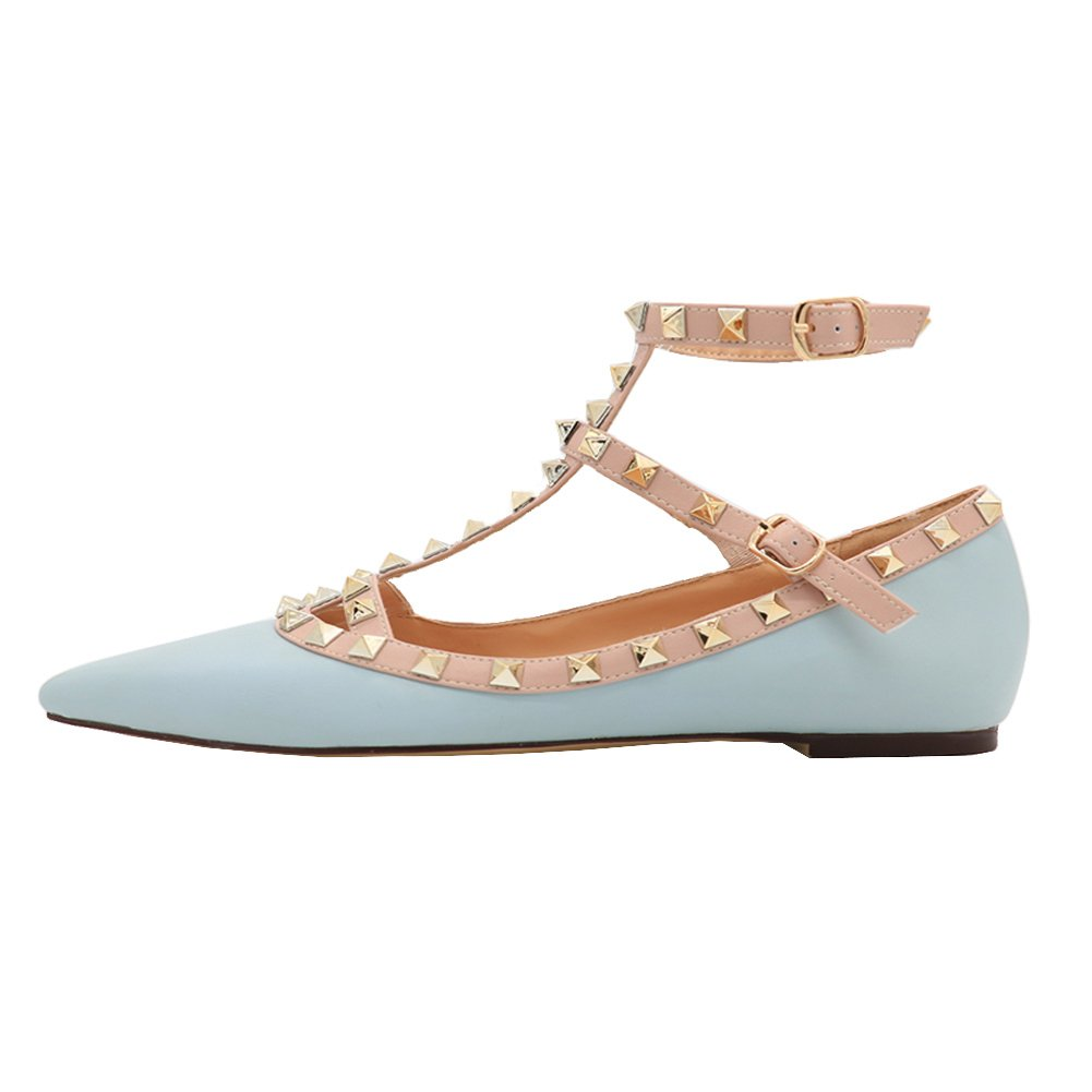 VOCOSI Women's Ankle Strap Studded Pointed Toe Pumps Rivets T-Strap Flat Pumps Dress B0794YBFY7 11 B(M) US|Blue(manmade Leather With Gold Rivets)