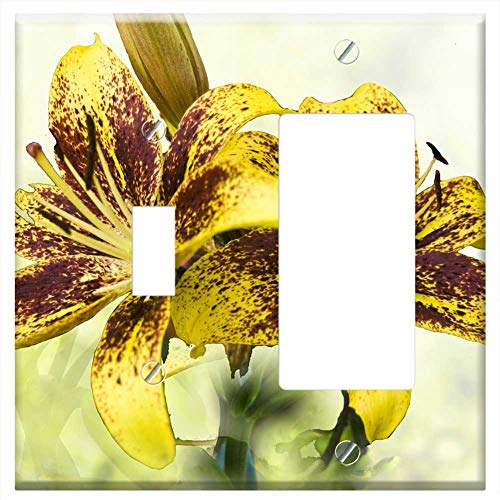 (1-Toggle 1-Rocker/GFCI Combination Wall Plate Cover - Lilies Yellow Brown Speckled Greeting Backgro)