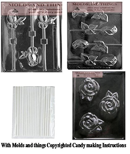 - LONG STEM ROSE LOLLY chocolate candy mold, Rose chocolate candy mold With Copywrited Candy Making Instruction -With 25 sticks