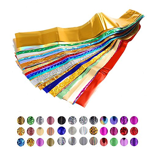Buildent(TM) 50Pcs/Lot Mix Color Nail Art Transfer Foil Beauty Star Design Polish DIY Nail Sticker Decal Nail Art Decoration Tips Accessories