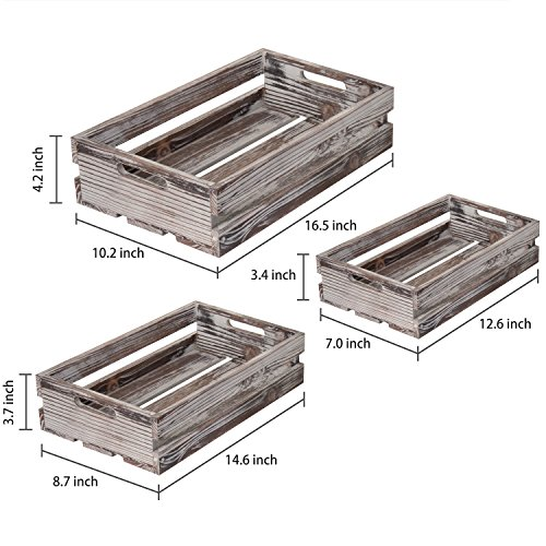 MyGift Set of 3 Nesting Torched Wood Storage Crates by MyGift (Image #5)