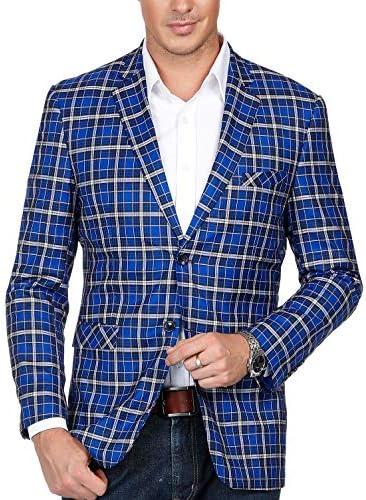 [해외]Men`s Plaid Suit Notched Lapel Slim Fit Stylish Blazer Dress Suit Blue / Men`s Plaid Suit Notched Lapel Slim Fit Stylish Blazer Dress Suit Blue