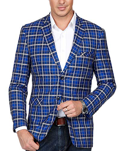 Men's Casual Plaid Suit Jacket Slim Fit Notch Lapel Two-Button Blazer Blue ()