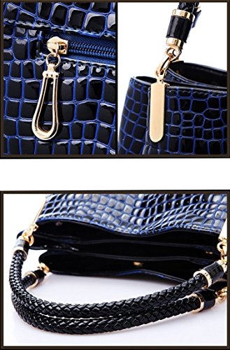 Crocodile Black Yan Show Leather Large Handbag Tote Women's Capacity Pattern Shoulder Patent Bag wYqwd7r