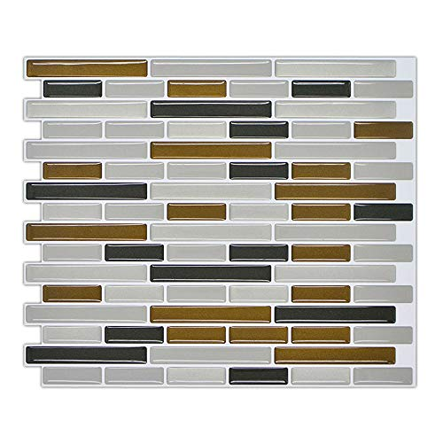 3D Self Adhesive Wall Tiles Clever Tiles Mildew-Proof Peel Wall Brick Glitter Mosaic Self Adhesive Tiles (As Shown)
