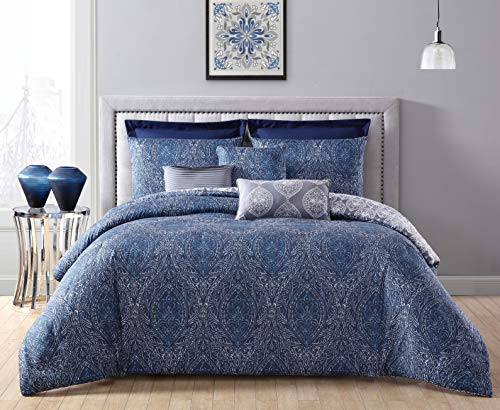 Geneva Home Fashion Candice 8pc Reversible Euro Shams Comforter Set Queen Navy