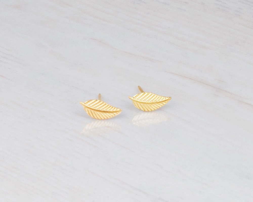 Tiny Gold Leaf Stud Earrings - Designer Handmade Small Feather Post Earrings