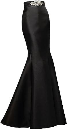 Secret Castle Vestido Largo Negro con Falda en satén para Mujer ...