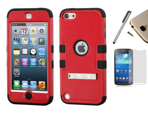 Apple iPod Touch 5 / 6 (5th Gen) Dual Layer Tuff Armor Impact Hybrid Soft Silicone Cover Hard Plastic Case + [WORLD ACC] TM Brand LCD Screen Protector + Silver Stylus Pen + Black Dust Cap Free Gift (Natural Tuff Red / Black) - Ipod Touch 5th Gen Acc