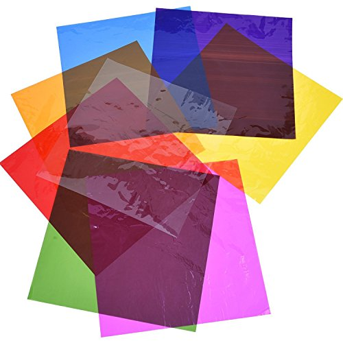 Outus Cello Sheets Cellophane Wraps, 8 x 8 Inch, 8 Colors, 104 - Acetate Colored