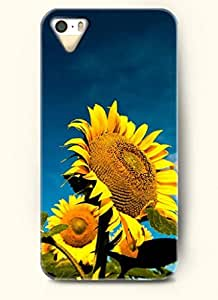 OOFIT phone case design with Beautiful sunflowers under the blue sky for Apple iPhone 5 5s