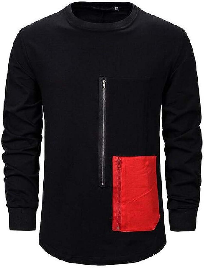 Jotebriyo Mens Sweatshirt Casual Hip Hop Relaxed Fit Color Block Pullover Sweatshirt Top