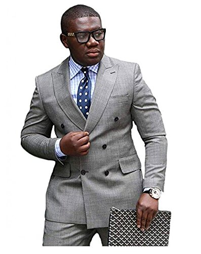 Botong Grey Double Breasted Wedding Suits for Men 2 Pieces Men Suits Groom Tuxedos 40 chest / 34 waist Double Breasted Mens Suits