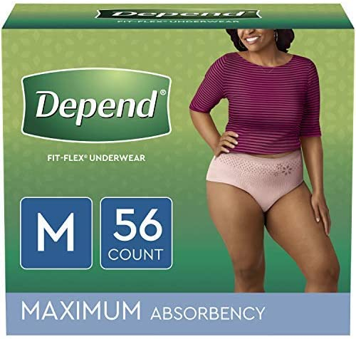 Depend FIT-FLEX Incontinence & Postpartum Underwear for Women, Disposable, Maximum Absorbency, (2 Packs of 28) (Packaging May Vary), Blush Medium, (56 Count)