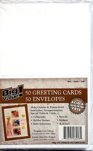 "Darice Heavyweight A7 Cards W/Envelopes (5.25""X7.25"") 50/Pkg, White"