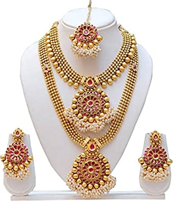 f821a28ad Image Unavailable. Image not available for. Colour  Lookethnic Traditional  South Indian Flower Design Maroon Semi Bridal Necklace Set ...