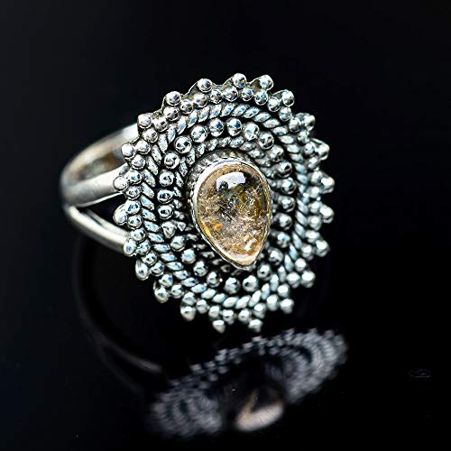 Ana Silver Co Rutilated Quartz Ring Size 6.5 (925 Sterling Silver) - Handmade Jewelry, Bohemian, Vintage RING949221