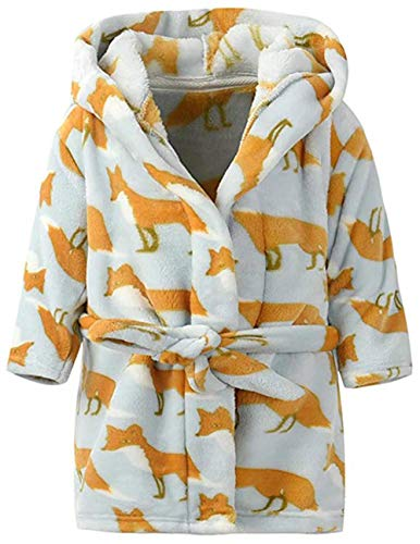 (Toddler Girls & Boys Bathrobes,Plush Soft Coral Fleece Robes Hooded Animal Sleepwear Pajamas for Kids Girls (Yellow Fox, 5T(Fit Height 43