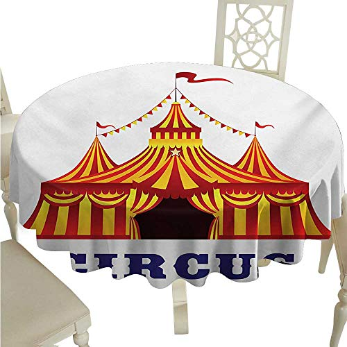 Circus Fabric Dust-Proof Table Cover Illustration of Old Striped Tent in Retro Style Old Fashion Joy Theater Art for Kitchen Dinning Tabletop Decoration D54 Red Yellow White
