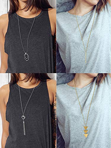4 Pieces Long Pendant Necklace Set, Layer Simple Bar Necklace Tassel Y Strands for Women (Style 1)