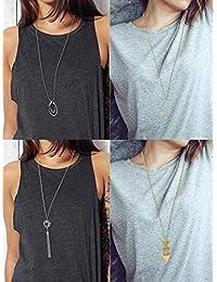 4 Pieces Long Pendant Necklace Set, Layer Simple Bar Necklace Tassel Y Strands for Women