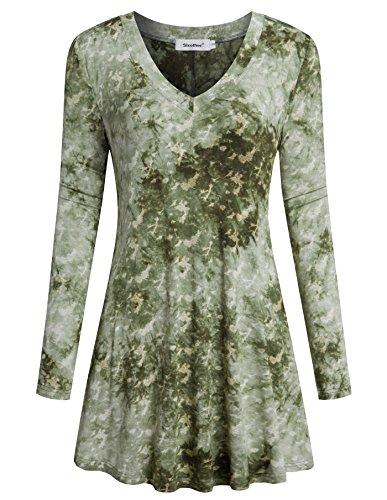 Sixother Womens Long Sleeve Tunic Tops V Neck Casual Blouses Basic Knit ()