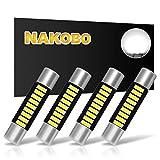 NAKOBO White 29mm Festoon Led Bulb 9-SMD 4014 Chipsets 6614F 6641 6612F 6615F12V for Car Interior Vanity Mirror Sun Visor Dome Lights(pack of 4)