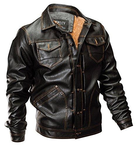 Biker Classique Jackets Épais Manteaux Pu Blousons Yyzyy Leather Mens Automne Homme Toison Marron En Moto Veste Interne Cuir Hiver Rétro Chaud pwqPHg