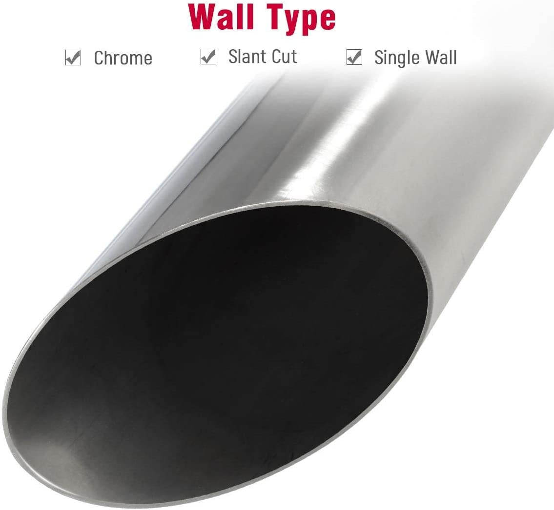Pack of 2 Universal Stainless Steel Exhaust Tip 2.25 Inlet 3.5 Outlet 12 Long Car Truck Weld On Angle Cut Exhaust Tailpipe Tips