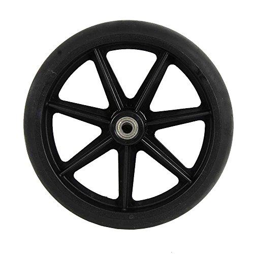 8 inch by 1 inch Black Replacement Wheel For Wheelchairs, Rollators, Walking Frames and more, 8' by 1' Solid Flat Free Black Caster.