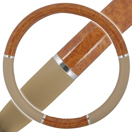 (BDKUSA Steering Wheel Cover - Light Wood Grain)