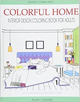 Colorful Home Interior Design Coloring Book For Adults