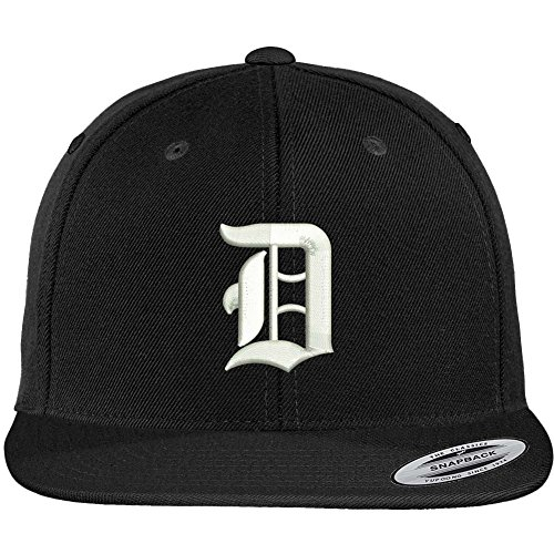 Embroidered Cap Screen Print - Trendy Apparel Shop Old English D Embroidered Flat Bill Snapback Cap - Black