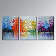 UAC Wall Arts Hand Painted Modern 3 Pieces Lake Scenery Oil Painting Abstract Wall Art Landscape Canvas Picture Framed Ready to Hang