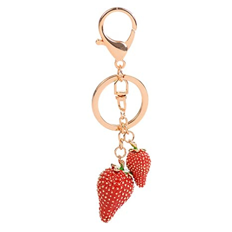 Women Strawberry Bear Key Chains Cartoon Cute Car Bag Pendant Keyring Jewelry