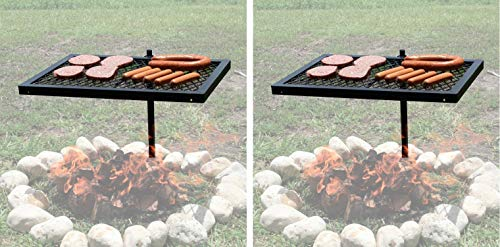Texsport Heavy Duty Barbecue Swivel Grill for Outdoor BBQ Over Open Fire (Pack of 2)