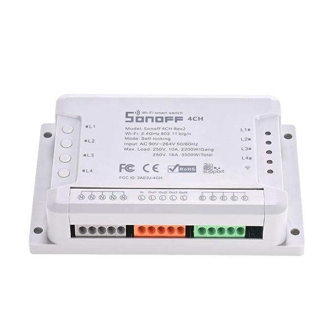 Docooler Sonoff 4CH R2 WiFi Licht Smart Switch 4 Banden 4 Kanäle Elektronischer Switch iOS Android-APP-Steuerung funktioniert